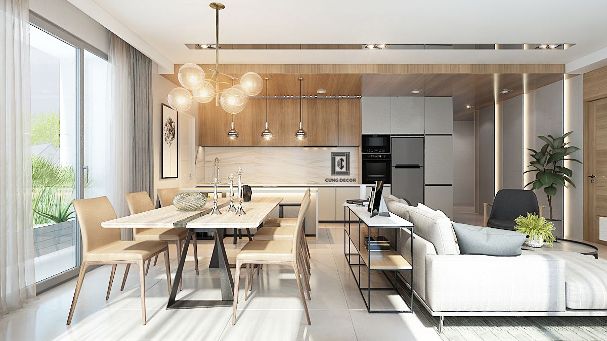 phòng khách liền bếp 4