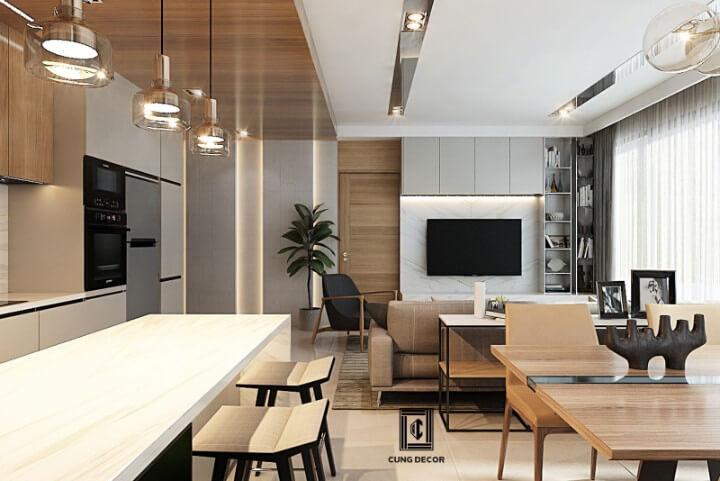 thiết kê nội thất phòng khách liên thông phòng bếp