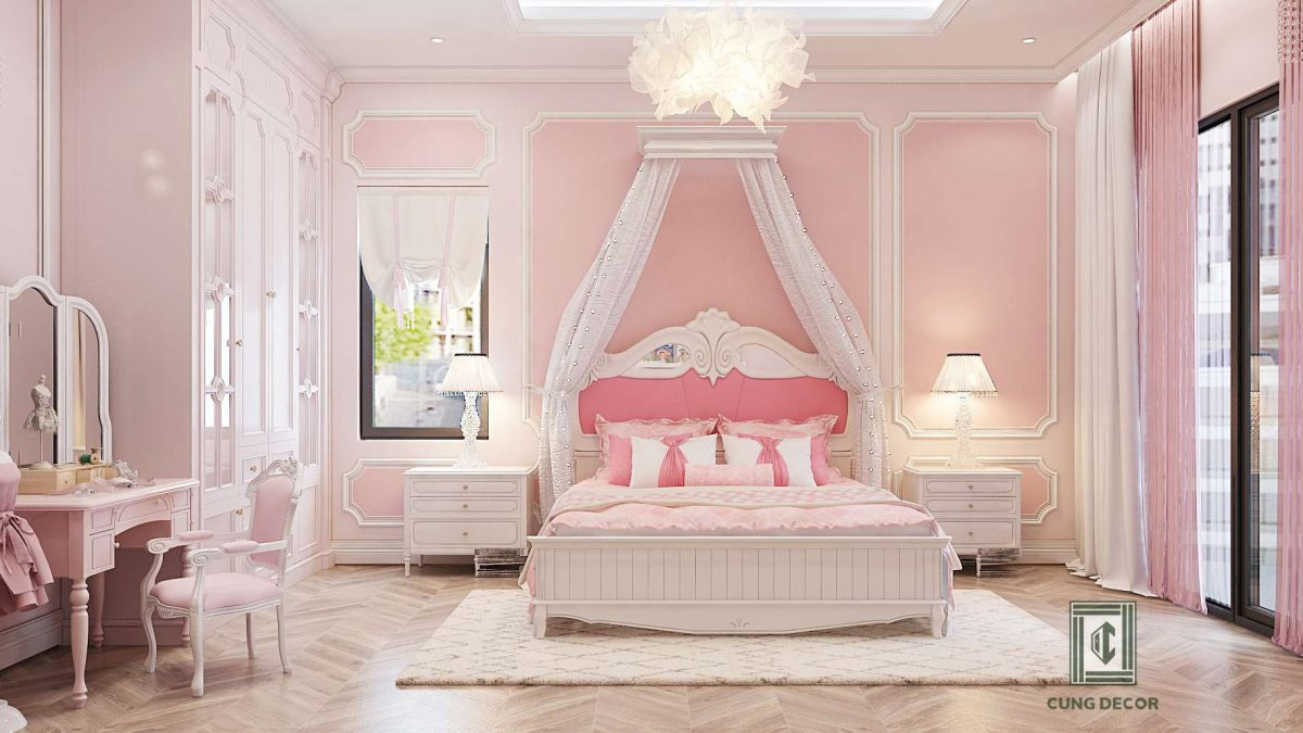 phòng ngủ màu hồng 3