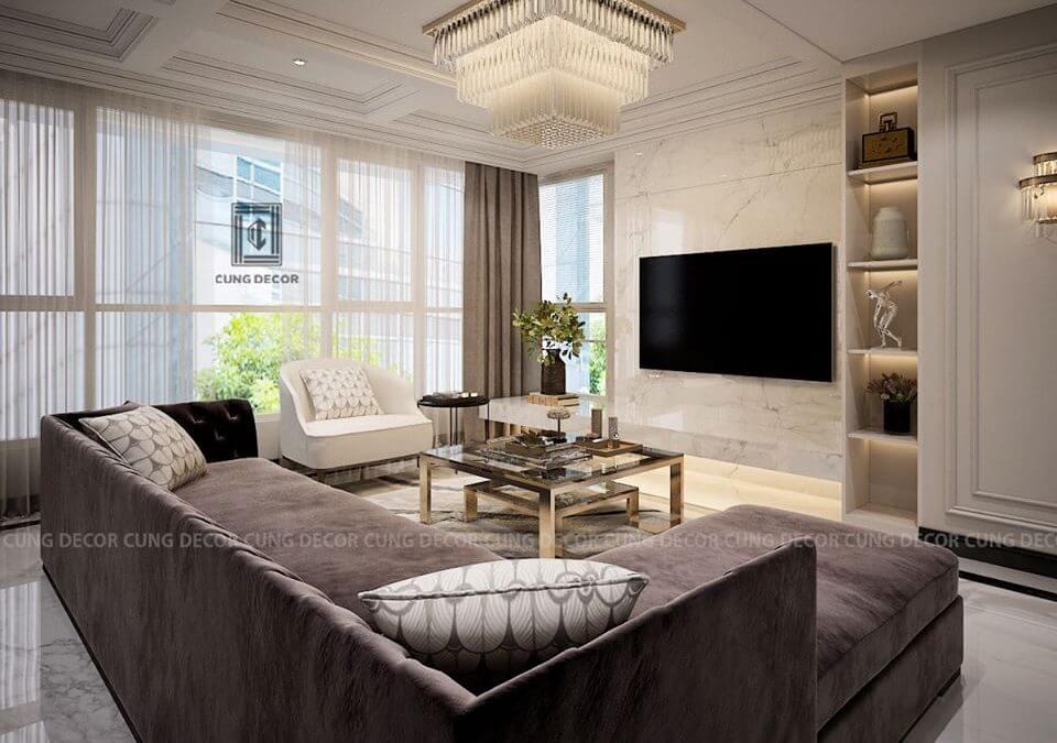 mẫu phòng khách căn hộ chung cư đẹp