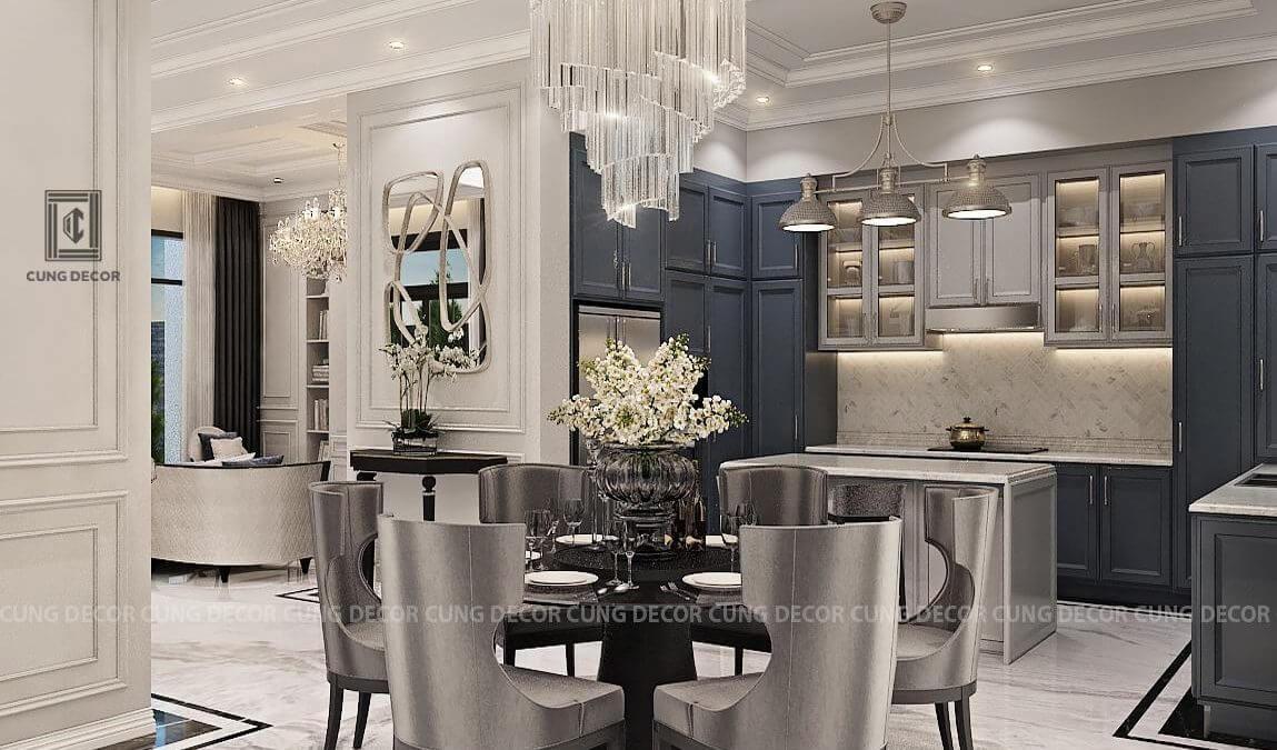 phòng bếp biệt thự phong cách tân cổ điển